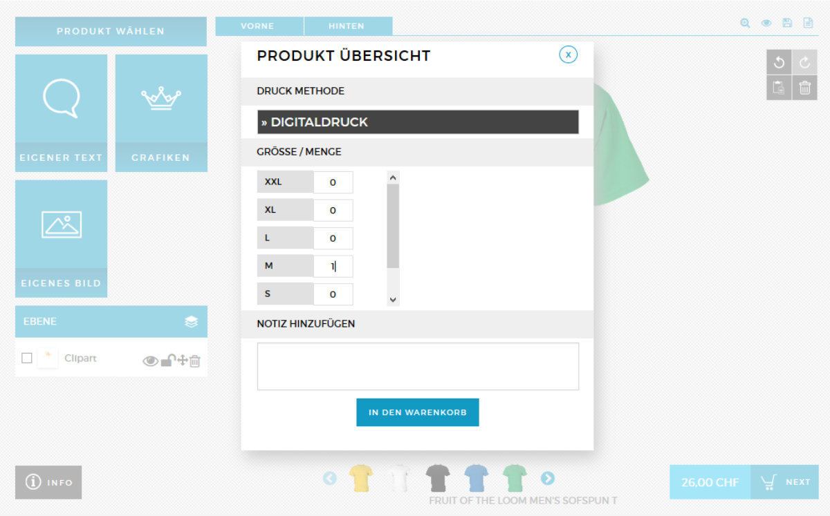 Shirt Designer Anleitung Bestellmenge Shirt bedrucken aus der Schweiz