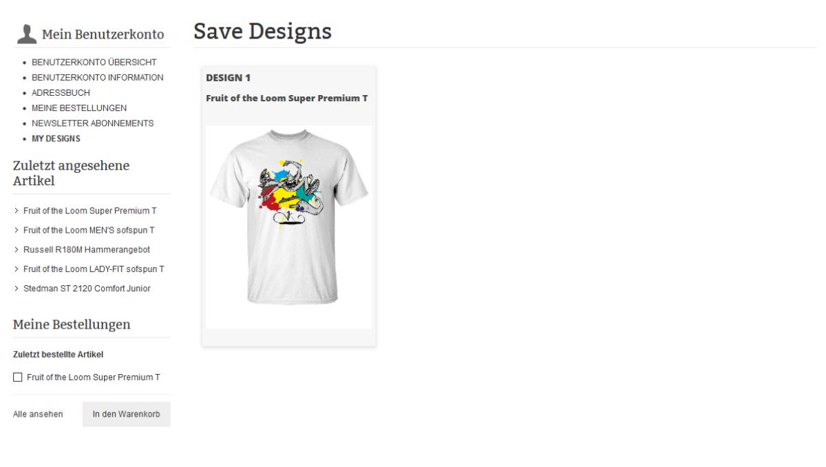 Shirt Designer Anleitung eigene Designs speichern