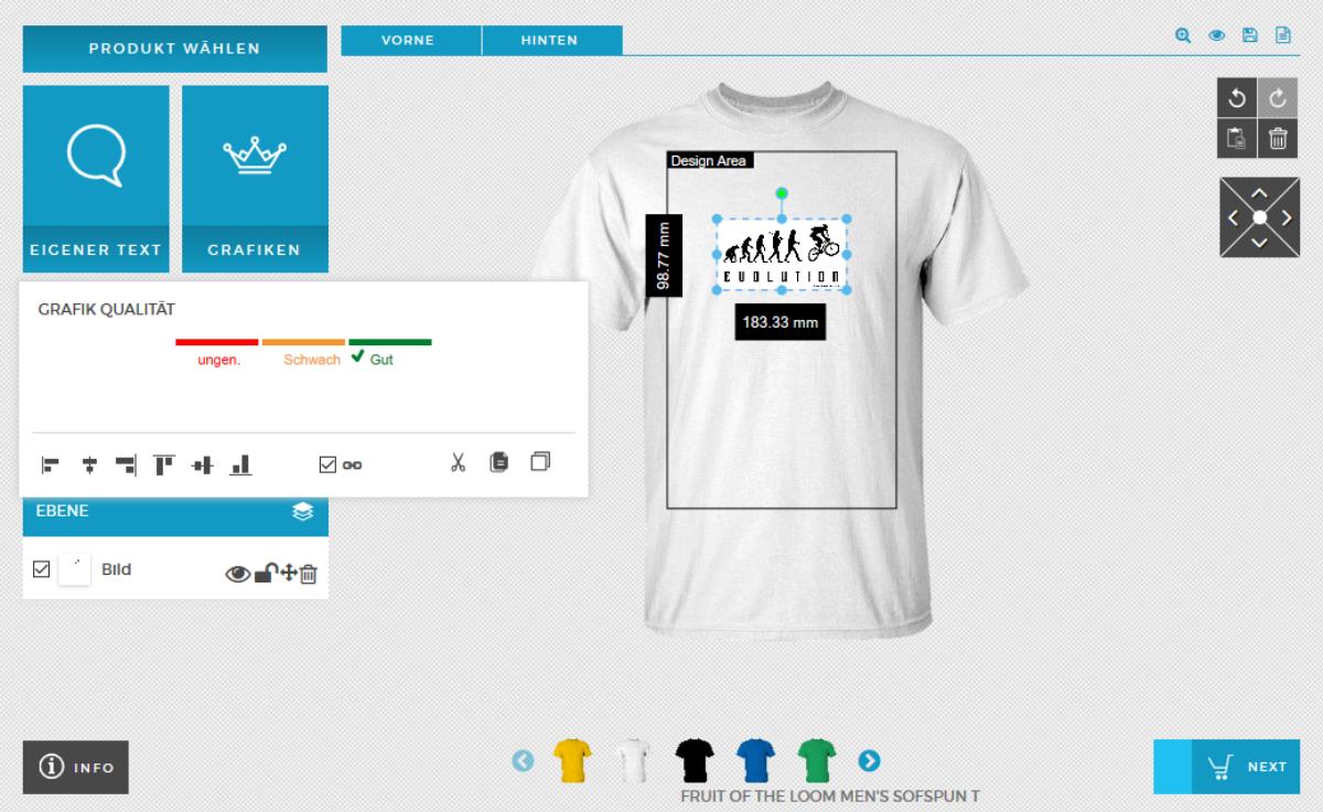 Shirt Designer Anleitung Shirt mit eigenem Bild bedrucken Grafikqualität