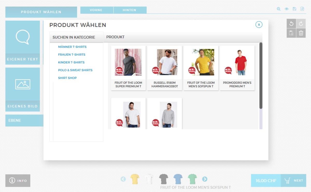 Shirt Designer Anleitung Produkt wählen