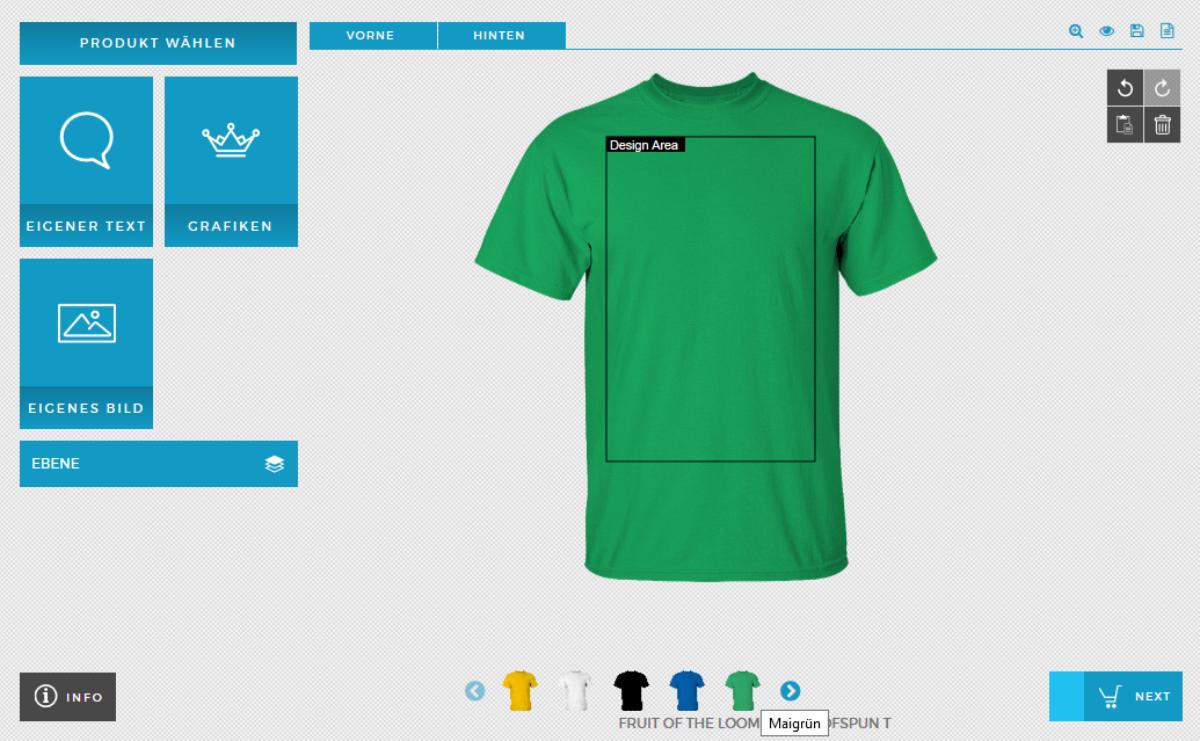 Shirt Designer Anleitung Druckgrösse und Farben
