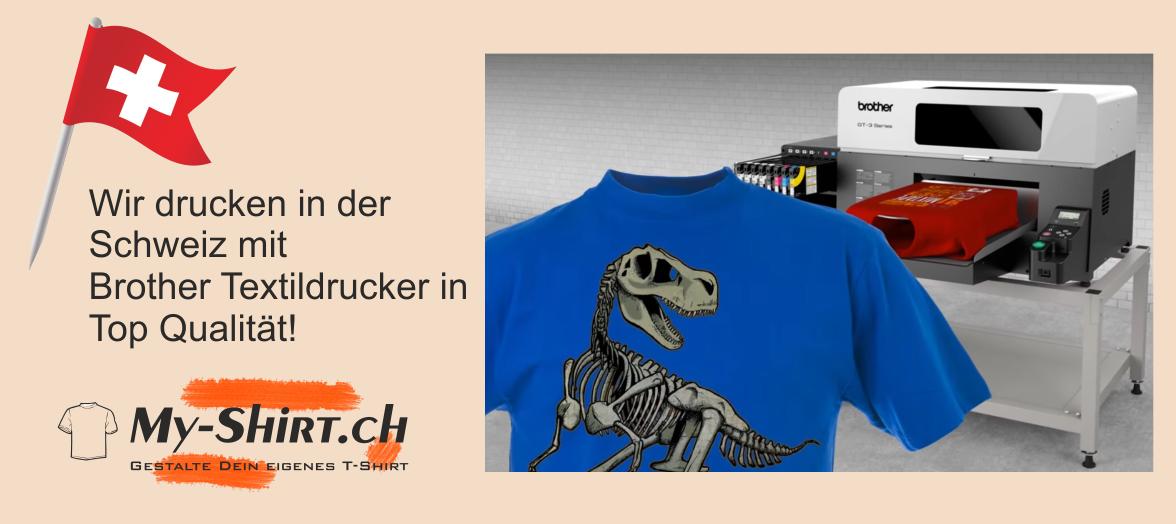 T-Shirt bedrucken mit eigenem Design mit Brother GT-381 Textildrucker